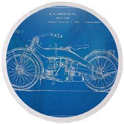 Harley-davidson Motorcycle 1924 Patent Artwork Round Beach Towel by Nikki Marie Smith