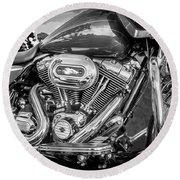 Harley Davidson Motorcycle Harley Bike Bw  Round Beach Towel