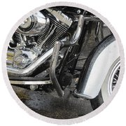 Harley Engine Close-up Rain 1 Round Beach Towel