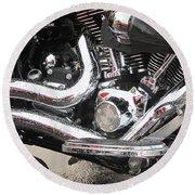 Harley Engine Close-up Rain 2 Round Beach Towel