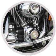 Harley Engine Close-up Rain 3 Round Beach Towel