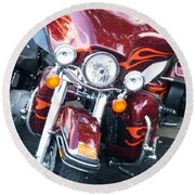 Harley Red W Orange Flames Round Beach Towel