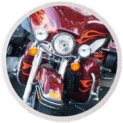 Harley Red W Orange Flames Round Beach Towel
