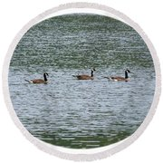 Harmonious Canada Geese Round Beach Towel by Will Borden