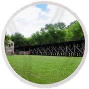Harpers Ferry Hardware And Railroad Round Beach Towel