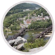 Harpers Ferry Viewed From Maryland Heights Round Beach Towel