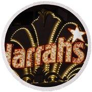 Harrahs - Las Vegas Round Beach Towel
