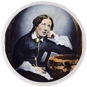 Harriet Beecher Stowe (1811-1896). American Abolitionist And Writer. Oil Over A Daguerrotype, C1852 Round Beach Towel