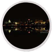 Harrisburg Night Lights Round Beach Towel