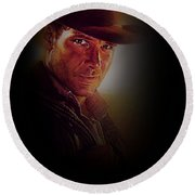 Harrison Ford As Indiana Jones Round Beach Towel