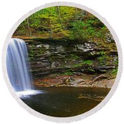 Harrison Wright Falls And Pool Round Beach Towel
