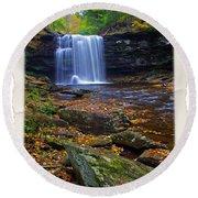 Harrison Wright Falls In Autumn Round Beach Towel