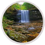 Harrison Wright Falls In Early Fall Round Beach Towel