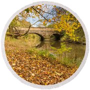 Hartford Bridge In Autumn Round Beach Towel