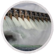 Hartwell Dam With Flood Gates Open Round Beach Towel