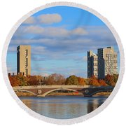 Harvard Towers Over The Charles Round Beach Towel
