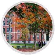 Harvard Yard Fall Colors Round Beach Towel