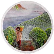 Harvest At Dawn Round Beach Towel