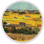 Harvest At La Crau With Montmajour In The Background Round Beach Towel by Vincent Van Gogh