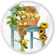 Harvest Fayre Round Beach Towel by Amanda Elwell