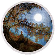 Harvest Moon Meditation Round Beach Towel
