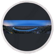 Harvest Moon Rising Over The Red Deer Round Beach Towel