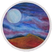 Harvest Moon 1 Round Beach Towel