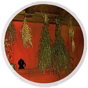 Harvest Of Herbs Round Beach Towel
