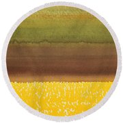 Harvest Original Painting Round Beach Towel