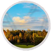 Harvest Time On The Farm Round Beach Towel by Parker Cunningham