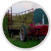 Harvest Time Tractor Round Beach Towel