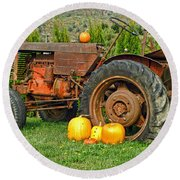 Harvest Tractor Round Beach Towel