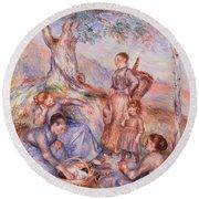 Harvesters Breakfast Round Beach Towel by Pierre-Auguste Renoir