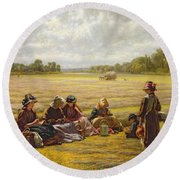 Harvesters Resting In The Sun, Berkshire, 1865 Oil On Canvas Round Beach Towel