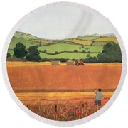 Harvesting In The Cotswolds Round Beach Towel