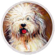 Harvey The Sheepdog Round Beach Towel
