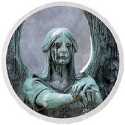 Haserot Weeping Angel Round Beach Towel