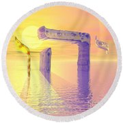 Face Of God Hovering Above The Waters Round Beach Towel