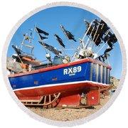 Hastings Fishing Boat Round Beach Towel