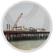 Hastings Pier Reconstruction Round Beach Towel