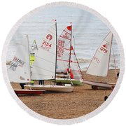 Hastings Sailing Boats Round Beach Towel