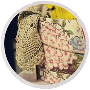 Hatbox Of Lace Round Beach Towel