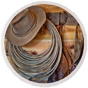 Hats And Chaps Round Beach Towel