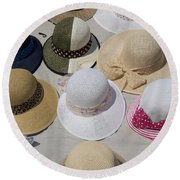 Hats For Sale Next To Marina, Lerici Round Beach Towel