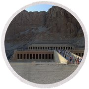 Hatshepsut Temple 06 Round Beach Towel