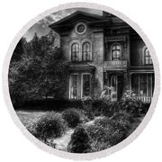 Haunted - Haunted House Round Beach Towel by Mike Savad