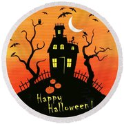 Haunted House Part One Round Beach Towel by Linda Mears