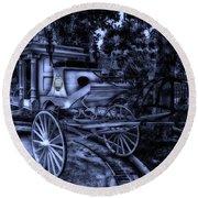 Haunted Mansion Hearse At Midnight New Orleans Disneyland Round Beach Towel