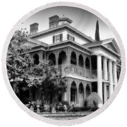 Haunted Mansion New Orleans Disneyland Bw Round Beach Towel