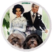 Havanese Art - Father Of The Bride Movie Poster Round Beach Towel